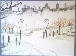 CarlosPardo.com paiter drawing 0403 Streetcar in Central Park