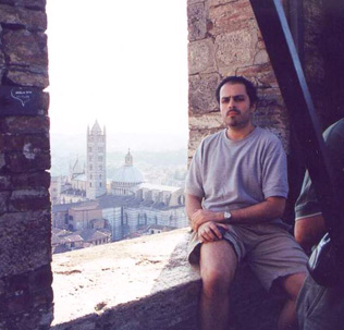 Impressed at Torre del Mangia, Sienna Italy August 2001.